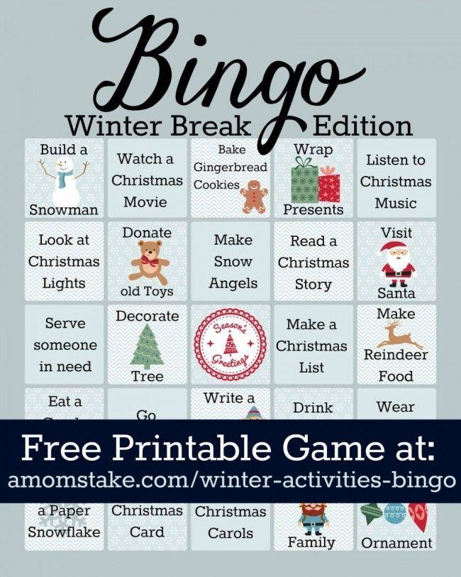 Winter Activities Bingo Game Printable