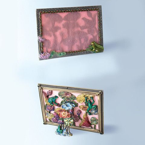 Green Pink 3d Back Frog Lily Pads Swarovski Crystals Photo Frame For