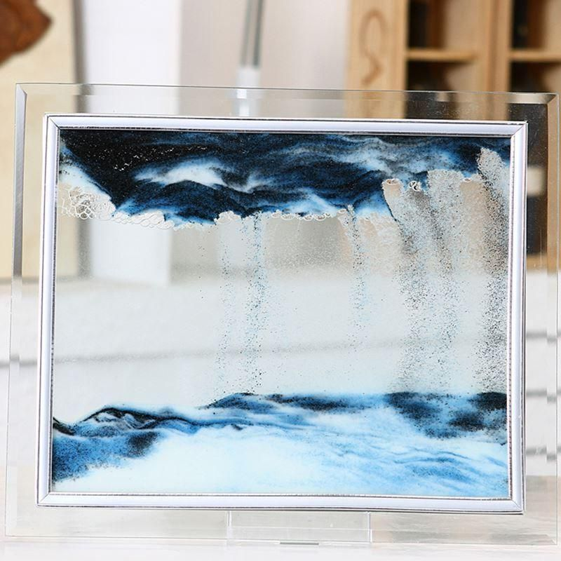 Details about 1pcs blue moving sand glass picture home