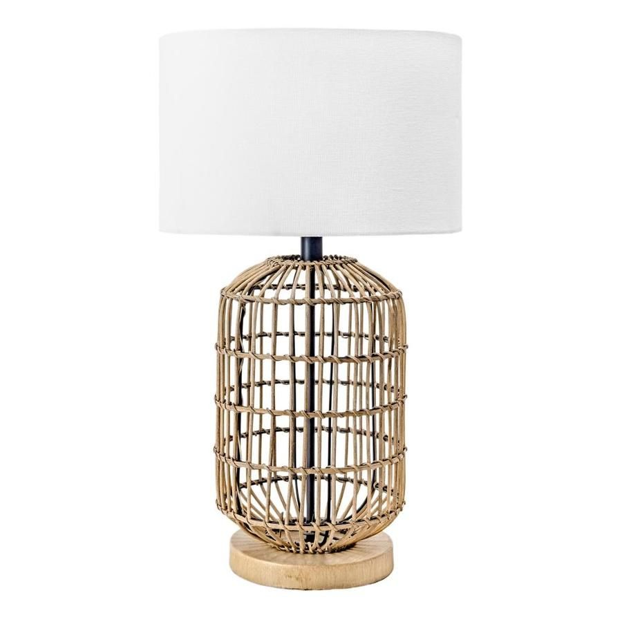 Nuloom 25 In Rattan Bird Cage Cloth Shade Table Lamp Mlt01aa In