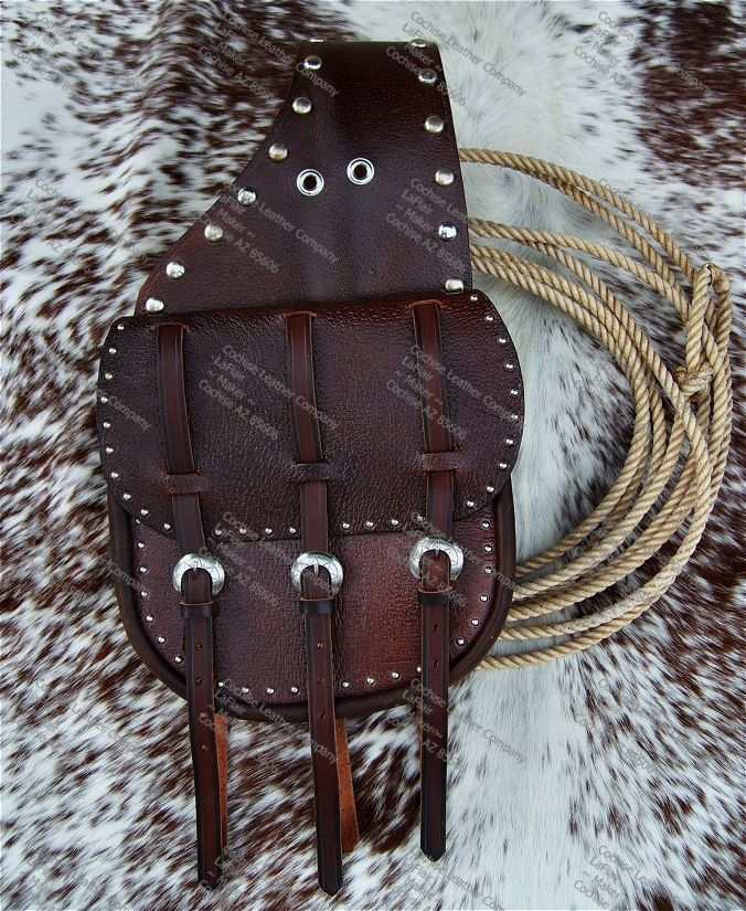 Custom Cavalry Style Leather Saddlebags with Spots