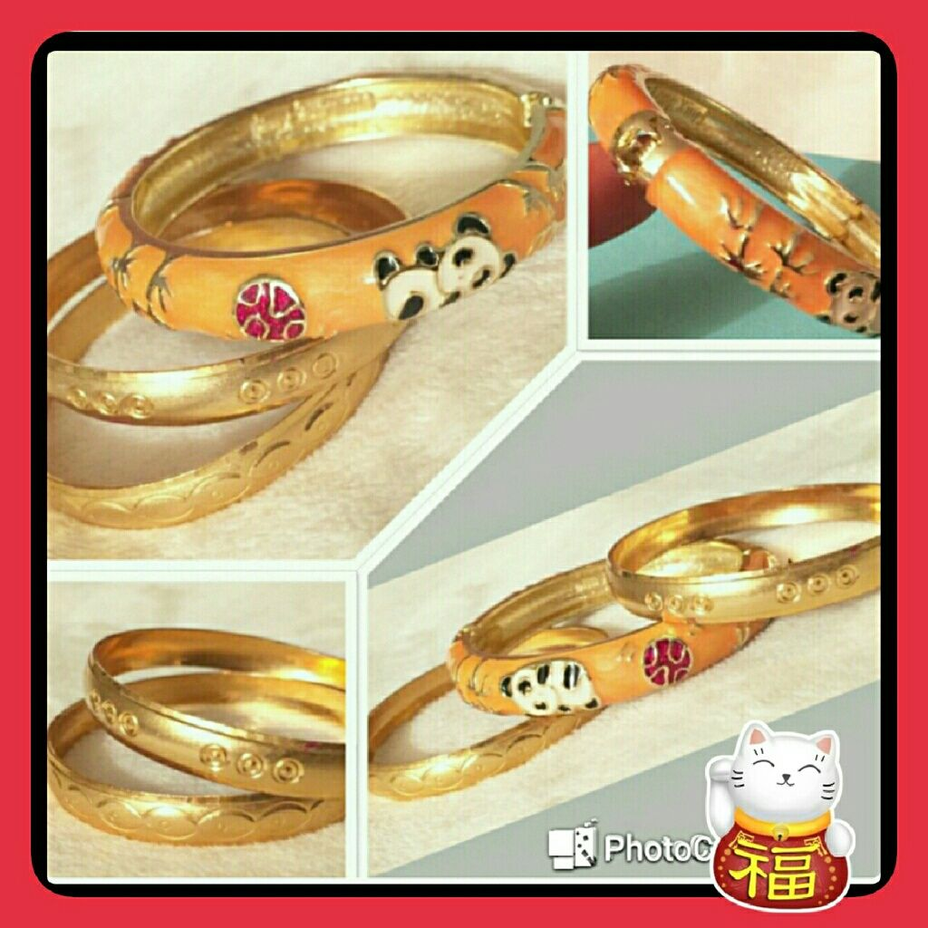 Girls bracelet banglespanda design goldtone panda bangle and