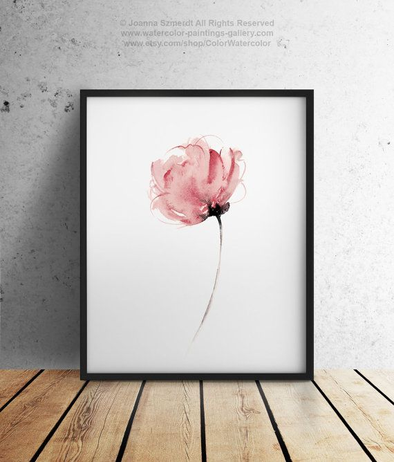 Watercolor Flower Abstract Art Print Pink Floral Home Decor