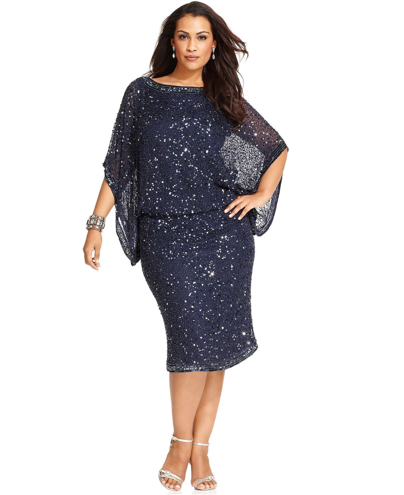 Patra Plus Size Kimono-Sleeve Beaded Dress - Plus Size Dresses ...
