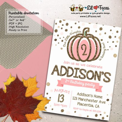pumpkin birthday invitations