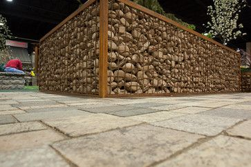 Gabion Planter With Granite Pavers Modern Landscape