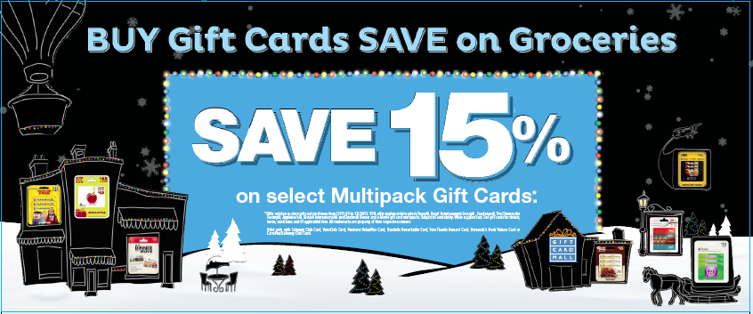 Santa will appreciate the stocking suffer help. Get 15% off of select mulit-card gift cards