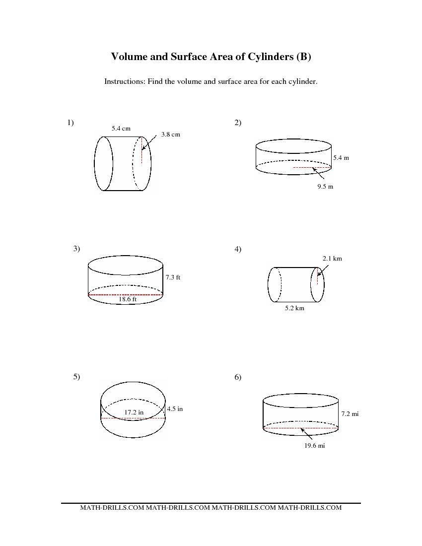Worksheets Surface Area And Volume Grade 7 Worksheet volume and surface area worksheets the of cylinders bb