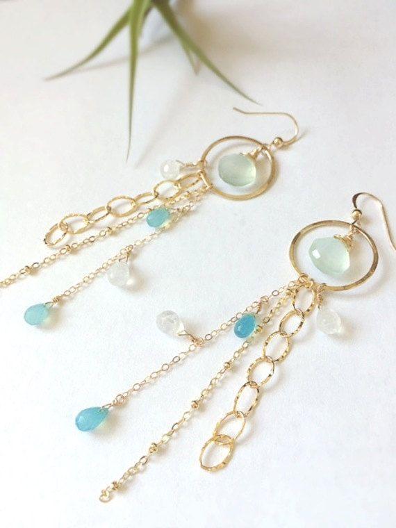 Photo of Blue Chalcedony/Moon stone Hoop & Chain Earrings