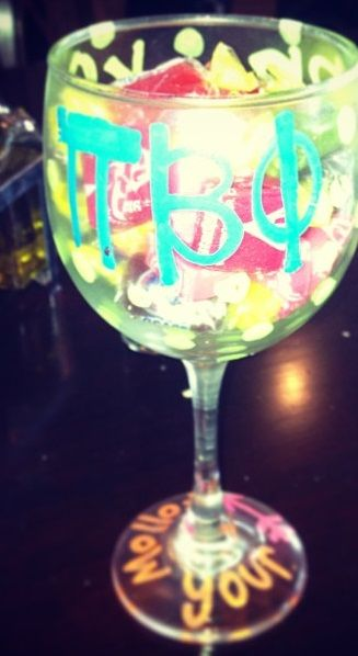 Pi Phi wine glass craft #piphi #pibetaphi