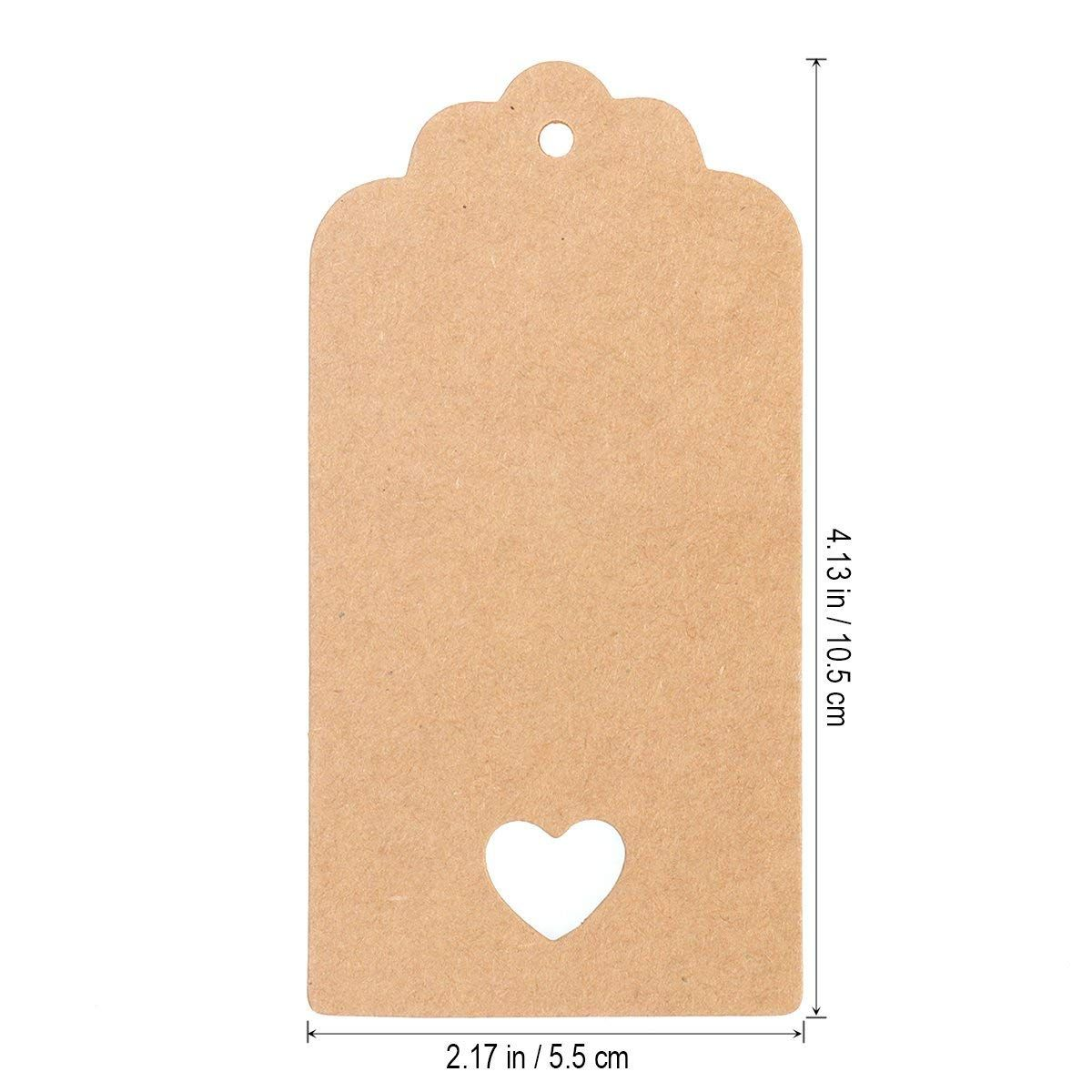 3d3d7805a316 Vosarea 100PCS Rustic Kraft Paper Hanging Tags Cards Hollow Heart ...