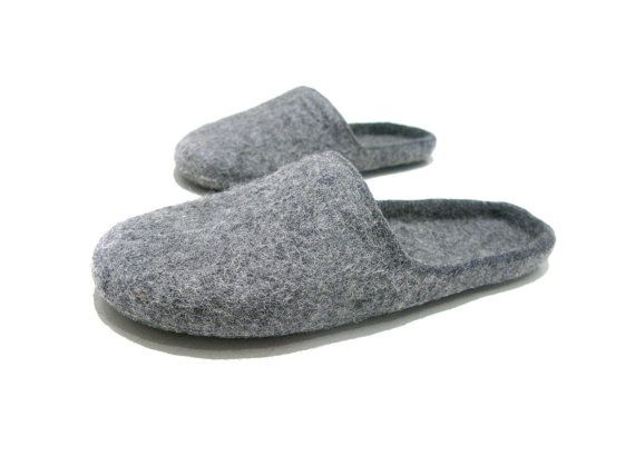 0598f949876c6 Fathers day gift idea, grey slippers, wool slippers, mens slippers ...