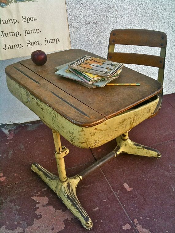 One Piece School Desk With Swivel Chair 1940s