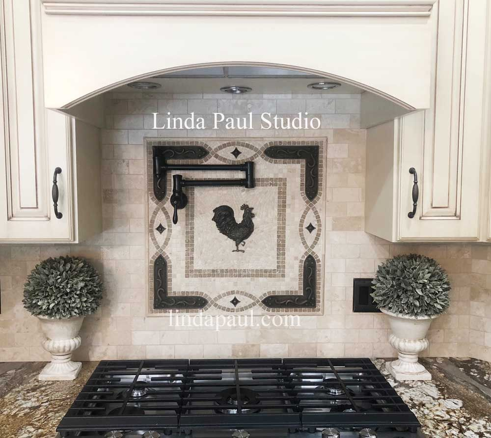 Rooster Tile Medallion French Country Kitchen Backsplash Ideas Country Kitchen Backsplash French Country Kitchens French Country Bathroom