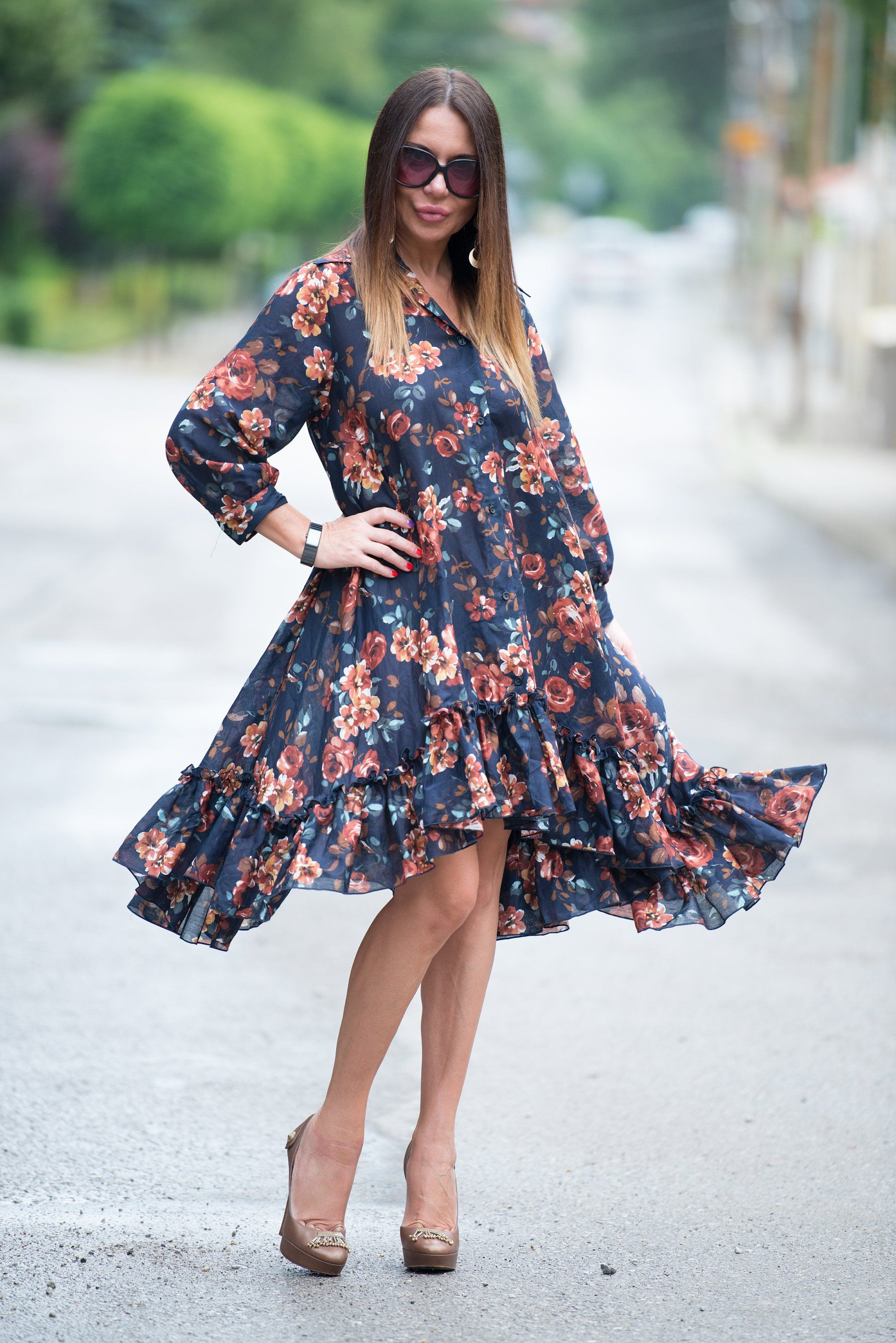 Black oversize loose cotton silk dress floral maxi long sleeves