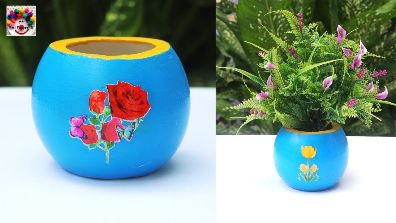 Diy Flower Vase Easy Handmade Flower Pot Making At Home Home Decor Flower Vase Diy Handmade Flower Pots Diy Flowers