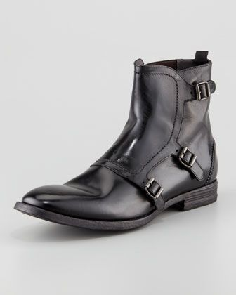 Alexander Mcqueen Triple Buckle Leather Boots Black Mens