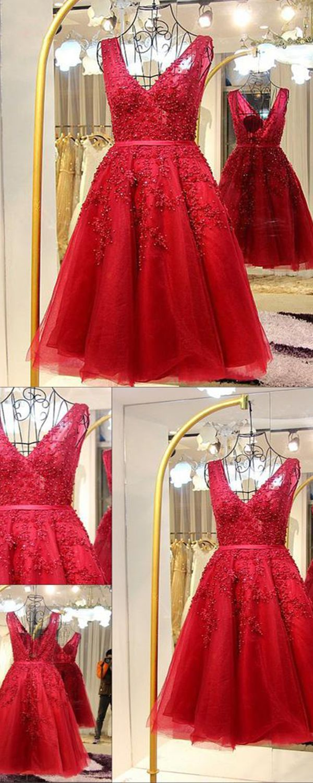 Aline vneck backless short burgundy homecoming dress with beading