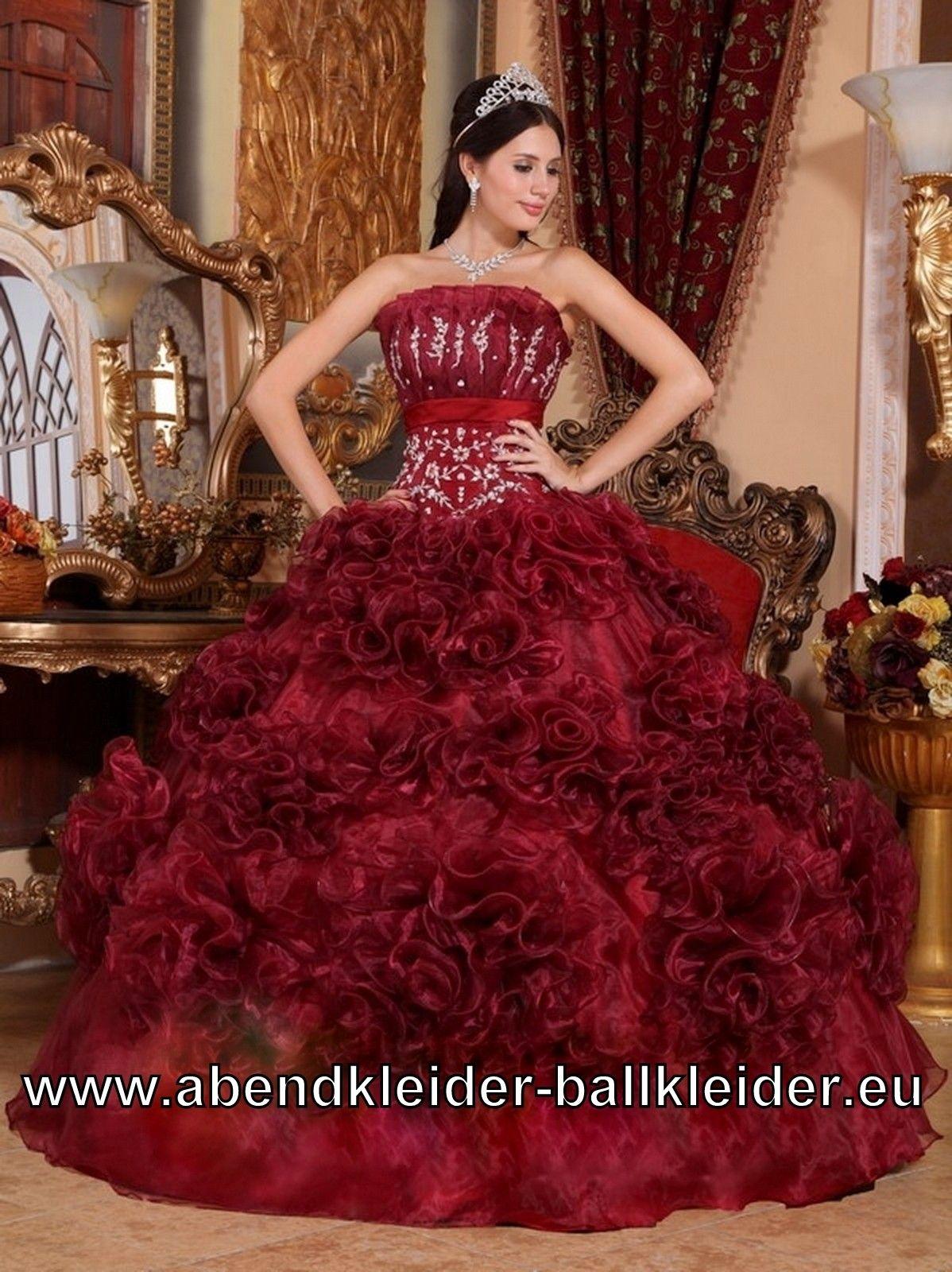 Wein Rotes Rüschen Sissi Kleid Ballkleid Brautkleid Abendkleid ...