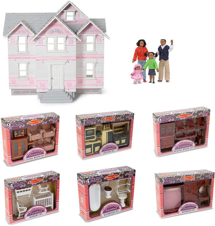 Melissa & Doug Lets Play Victorian Dollhouse & Room Sets with Doll Family #victoriandollhouse
