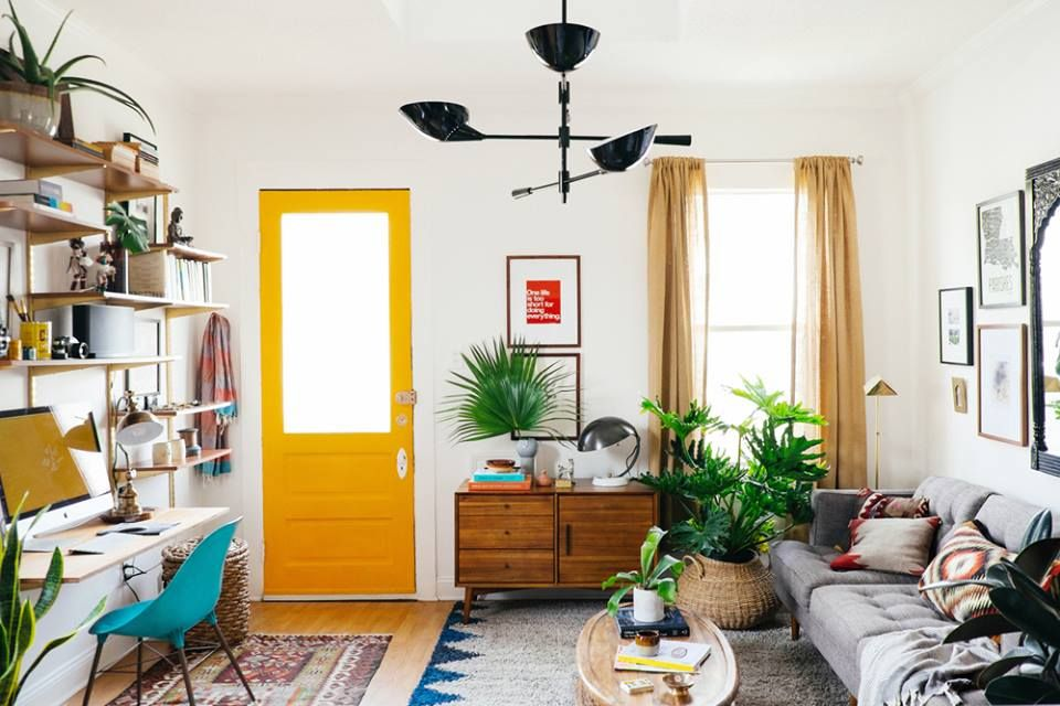Color In A Room With White Walls Wood Accents Plants Living Room Makeover Small Living Room Tiny Living Rooms #white #walls #living #room #decor