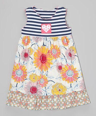 Look what I found on #zulily! Pink & Blue Daisy Ruffle Babydoll Dress - Toddler & Girls #zulilyfinds