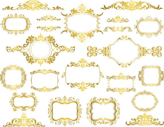 766f7b0f695 Golden Frame Clip Art Digital Gold Frame Clipart Retro Gold Frame Ornate  Scrapbooking Frame Decorati