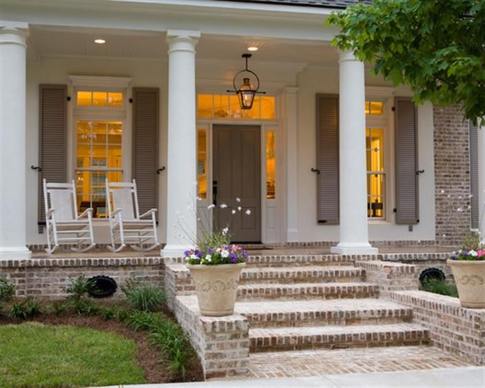 Raised Porch with Brick Pavers and croker sack paint application ...