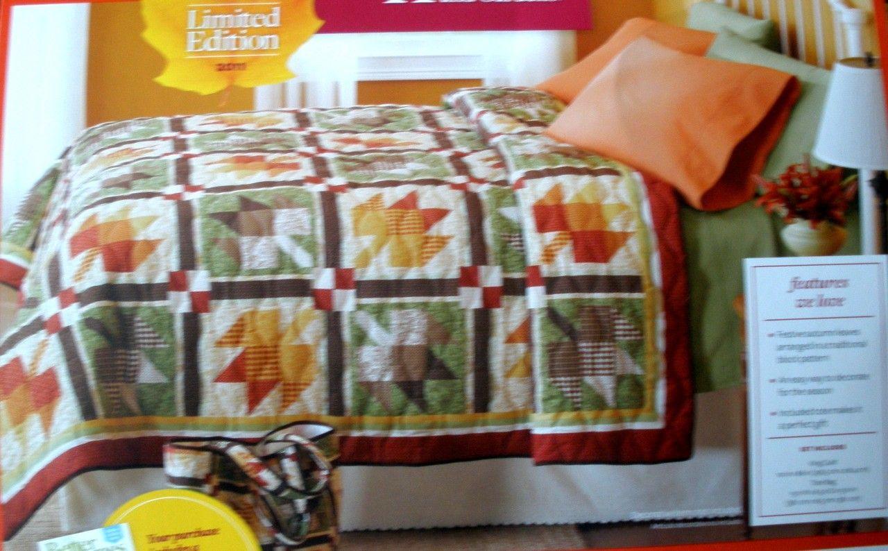 Better Homes Gardens Harvest Pinwheel Maple Leaf Full Qn King Quilt Tote Set Better Homes Gardens Garden Harvest King Quilt