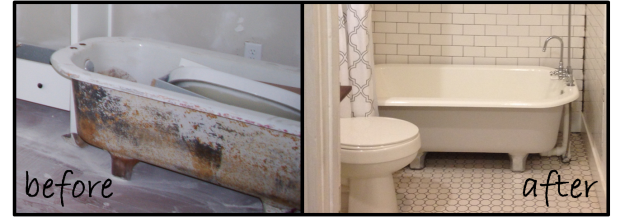 how to refinish an old 1900s cast iron claw foot tub. Cute ...