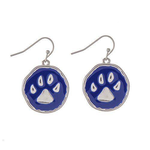 Blue and Silver Tone Paw Print Fish Hook Earrings SportsT... https://www.amazon.com/dp/B01HR8JH5G/ref=cm_sw_r_pi_dp_vhJLxbXRHYC0T