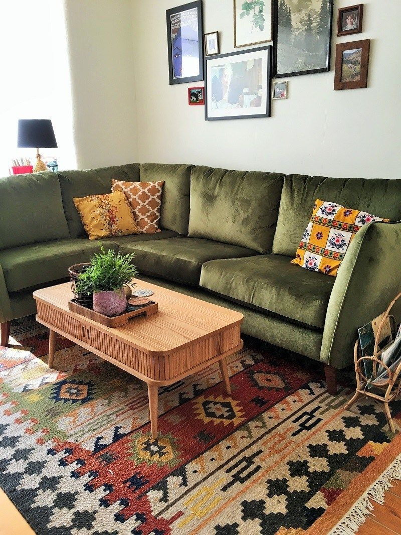 boho rug green vintage midcentury style corner sofa
