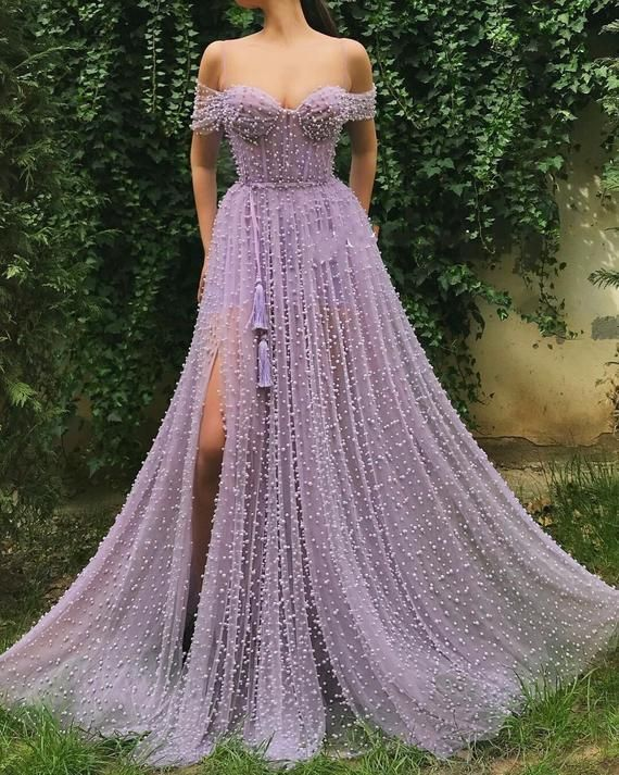 Photo of Luxury fashion beaded design, 3d lace fabric, wedding dress fabric, purple fas …