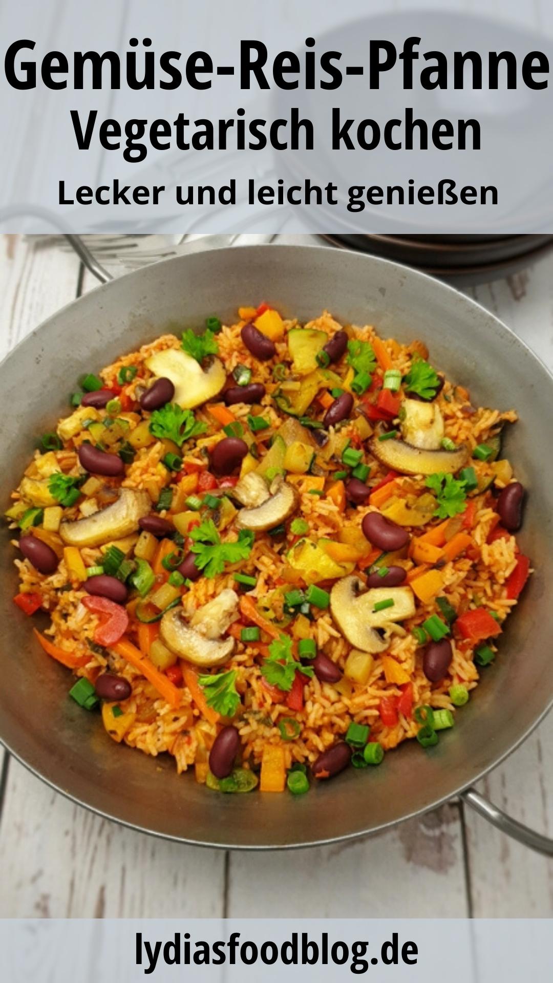 Diese Gemüse-Reis-Pfanne ist super einfach, schnell und lecker in nur 20 Minuten zubereitet. Ob als Beilage zu Fisch oder Fleisch, oder als veganes Mittag- oder Abendessen, mein Reisgericht passt immer. Du hast noch Reis vom Vortag übrig? Dann ist mein Rezept genau das richtige für dich! #abnehmen #kalorienarm #reispfanne #reis #leichtekueche #schnell #familienessen #kochen #rezepte #lydiasfoodblog #einfach #vegan #vegetarisch