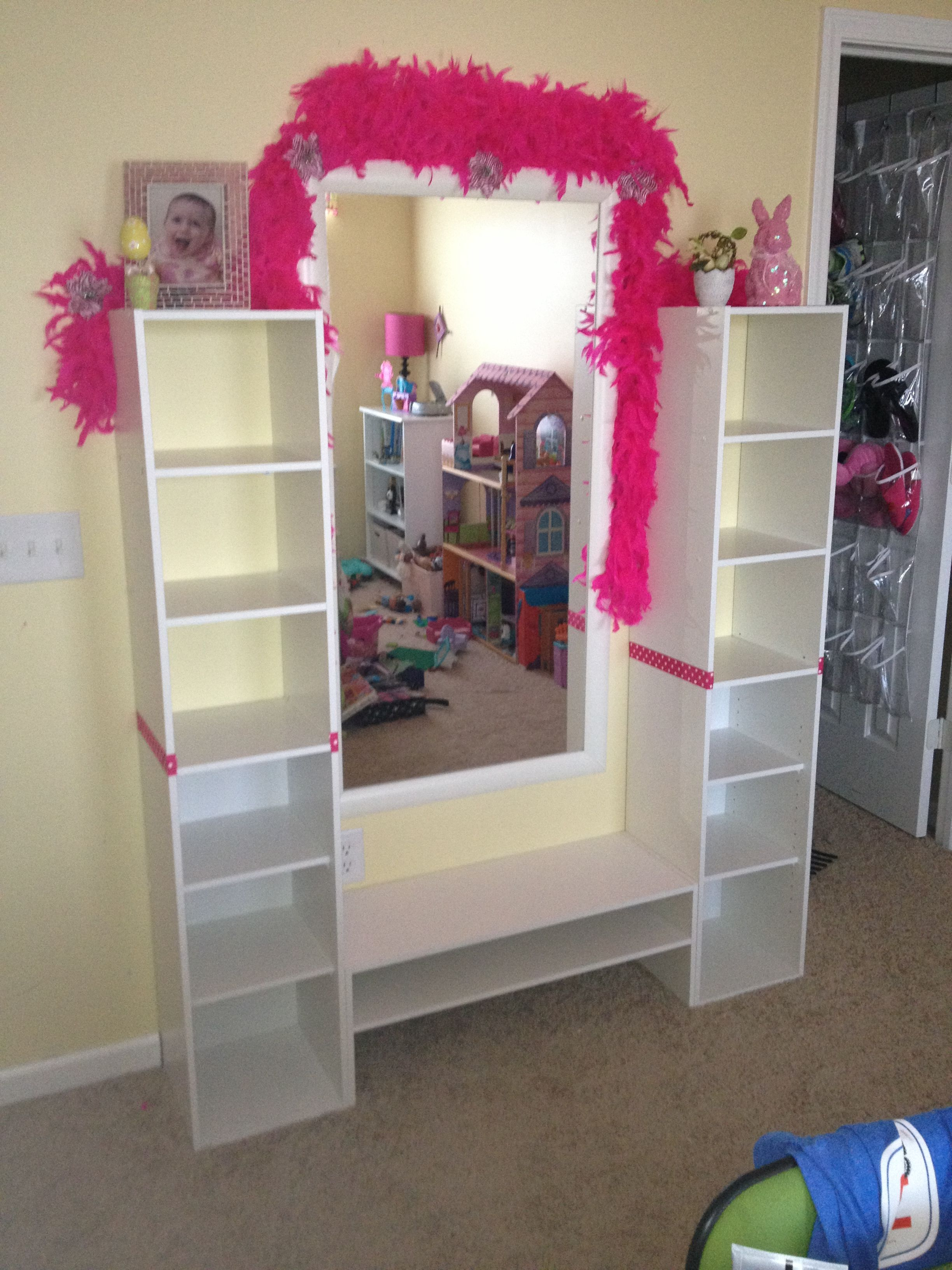 DIY Mirror wall shelves. Stock shelving from Menards, cut out ...