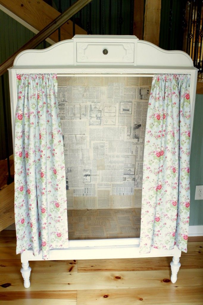 """""""Empty and old dresser and add shelves, curtain the front. Reuse the drawers for shelves somewhere else!  How about a puppet theatre?"""" #upcycled Upcycled design inspirations"""
