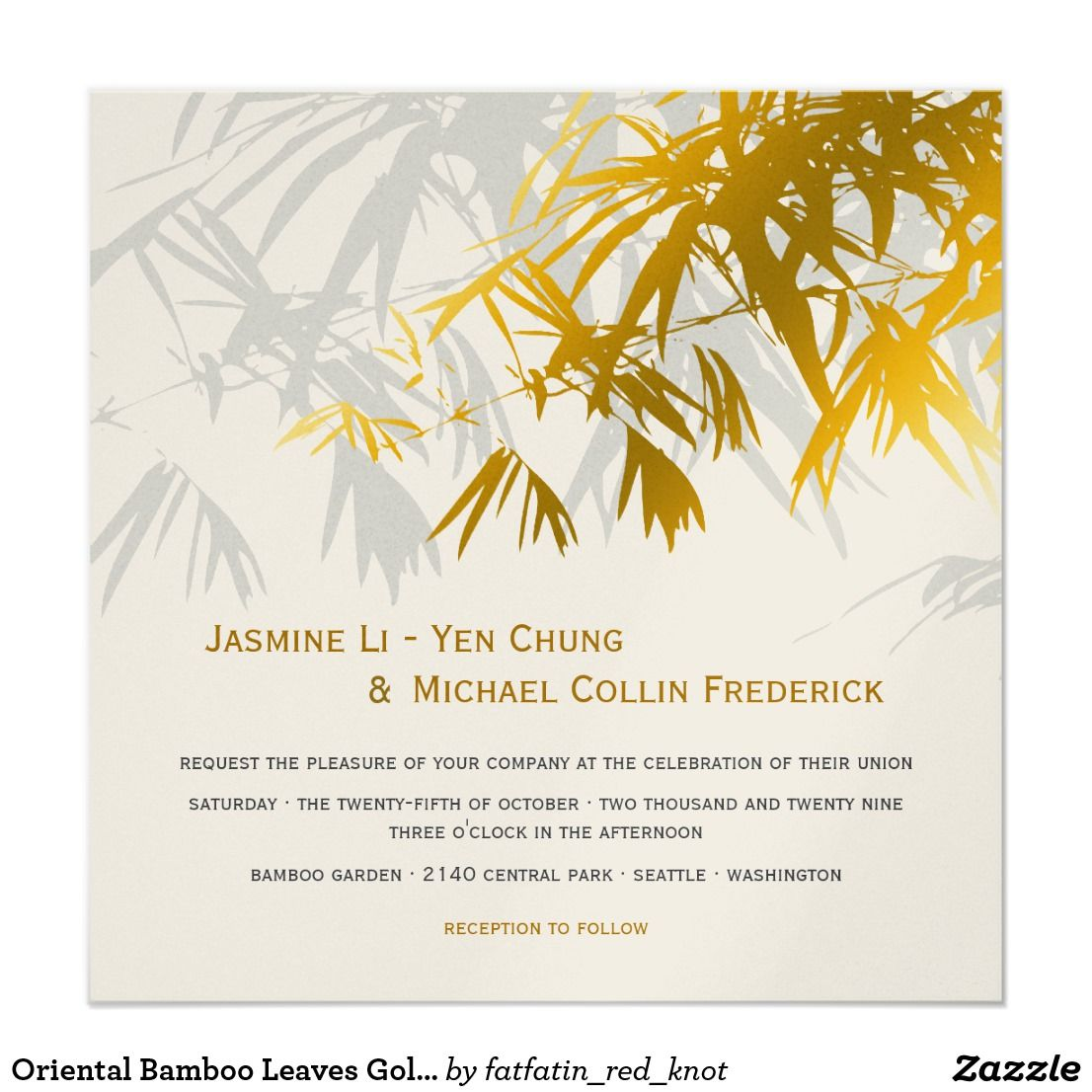 Oriental Bamboo Leaves Gold Black Wedding Invite | Wedding designs ...