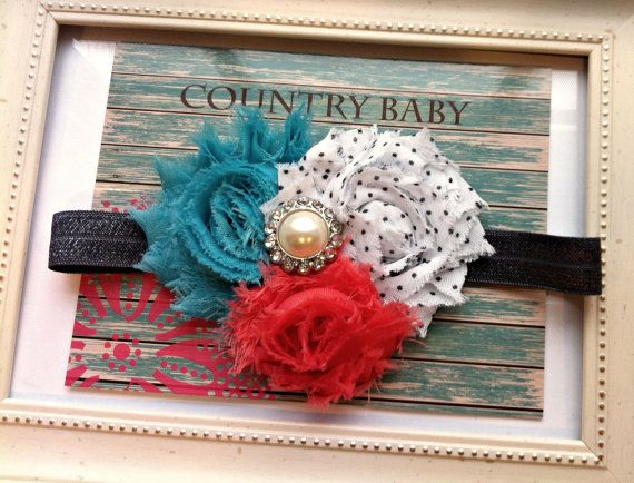 Teal Coral and White and Black Dots Shabby Rose Headband by CountryBabyHandmade, $9.99