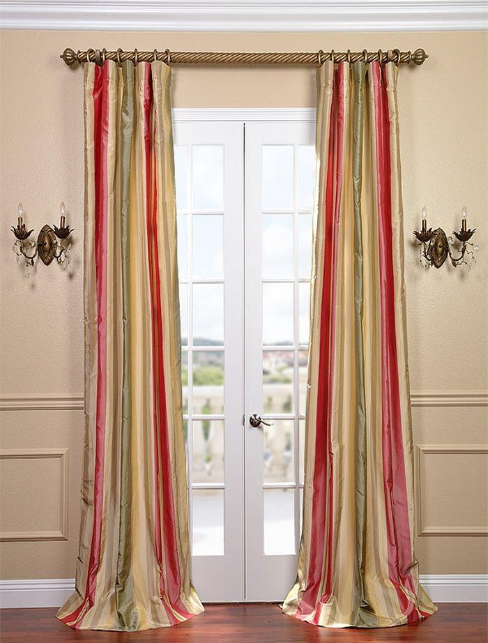 Bellevue Silk Taffeta Stripe Curtain Striped Curtains Curtains