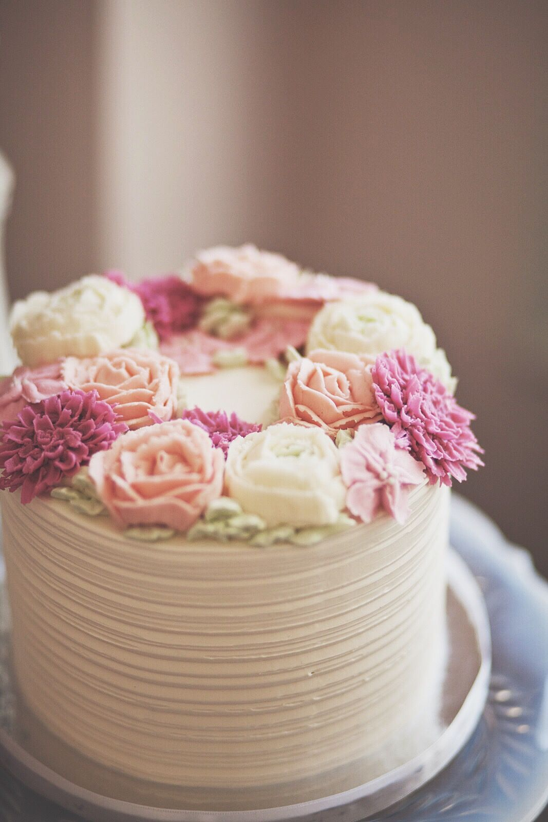Rustic Buttercream Cake With Soft Pink And Cream Rose Flowers Mother Birthday