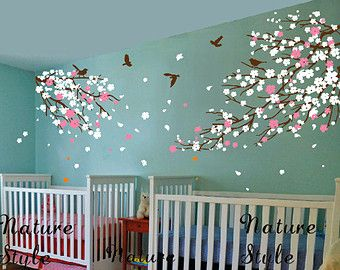 Cherry Blossom Wall Decal With Flying Birdscherry By NatureStyle - Wall stickers for girlspink cherry blossom tree with birds wall stickers girls bedroom