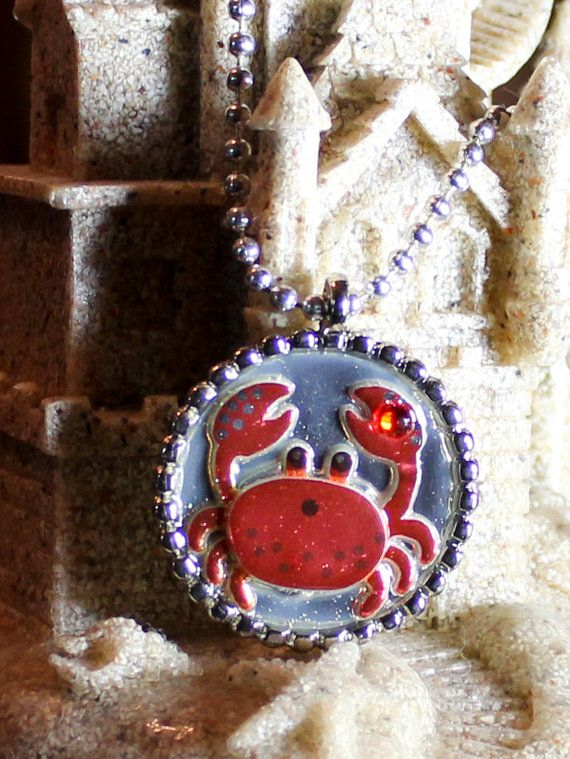 Charity  Red Crab Pendant  Benefits Ric O'Barry's The Dolphin Project by GreyGyrl, $10.00