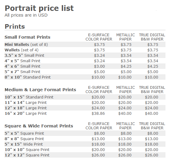 Price List Family Photo Package Prices