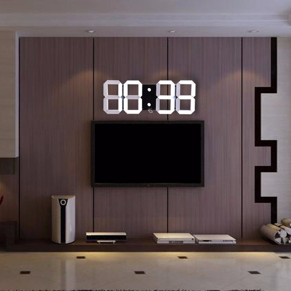13ad71126bc Venda quente Design Moderno 3D Digital Levou Relógio de Parede Grande  Relógio Criativo Alarme Temperatura Relógio de Decoração Para Casa  Decoração Do ...