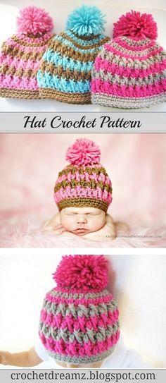 Pom Pom Beanie For Boy Or Girl Crochet Pattern Newborn Baby To