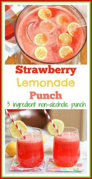 Strawberry Lemonade Punch-Non Alcoholic Punch #lemonadepunch