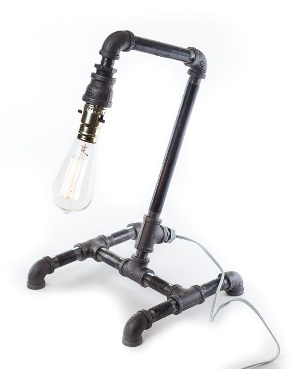 Great DIY Industrial Lamp Is Made From Pipe, Pipe Fittings And A Simple Lamp Kit.  You Can Make This Lamp Yourself To Add A Bit Of An Industrial Chic Look To  Your ...