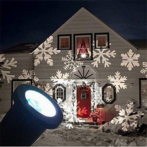 SHHE Christmas Projector Lights Moving White Snowflake LED Landscape