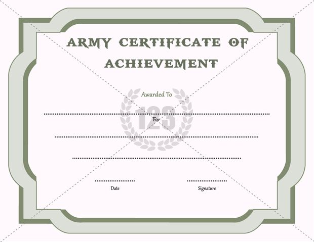 Army Certificate of Achievement Template - 123Certificate - congratulations certificate