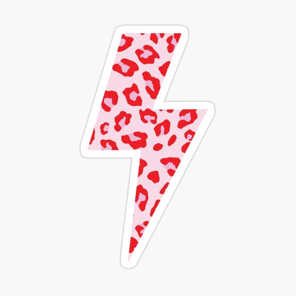 pink and red leopard print lightning bolt Sticker